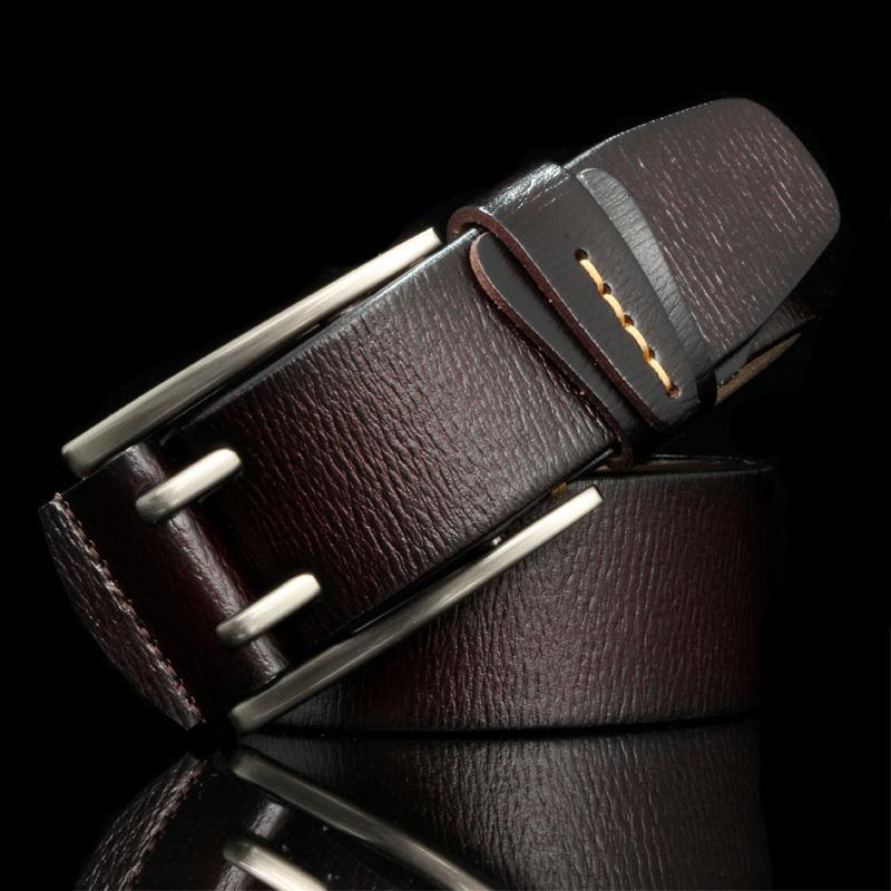 2021 Yeni HREECOW Vintage Stil Pin Toka İnek Erkekler Için Hakiki Deri Kemerler Yüksek Kalite Erkek Kemer Cinturones Y0PM