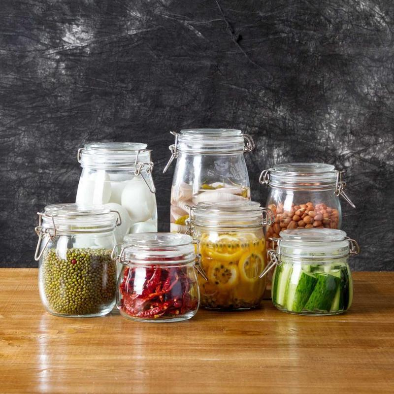 Storage Bottles & Jars 1Pc Kitchen Glass Containers Wine Pickle Jar Pot Transparent Food Bottle Seal Plug Clear Container