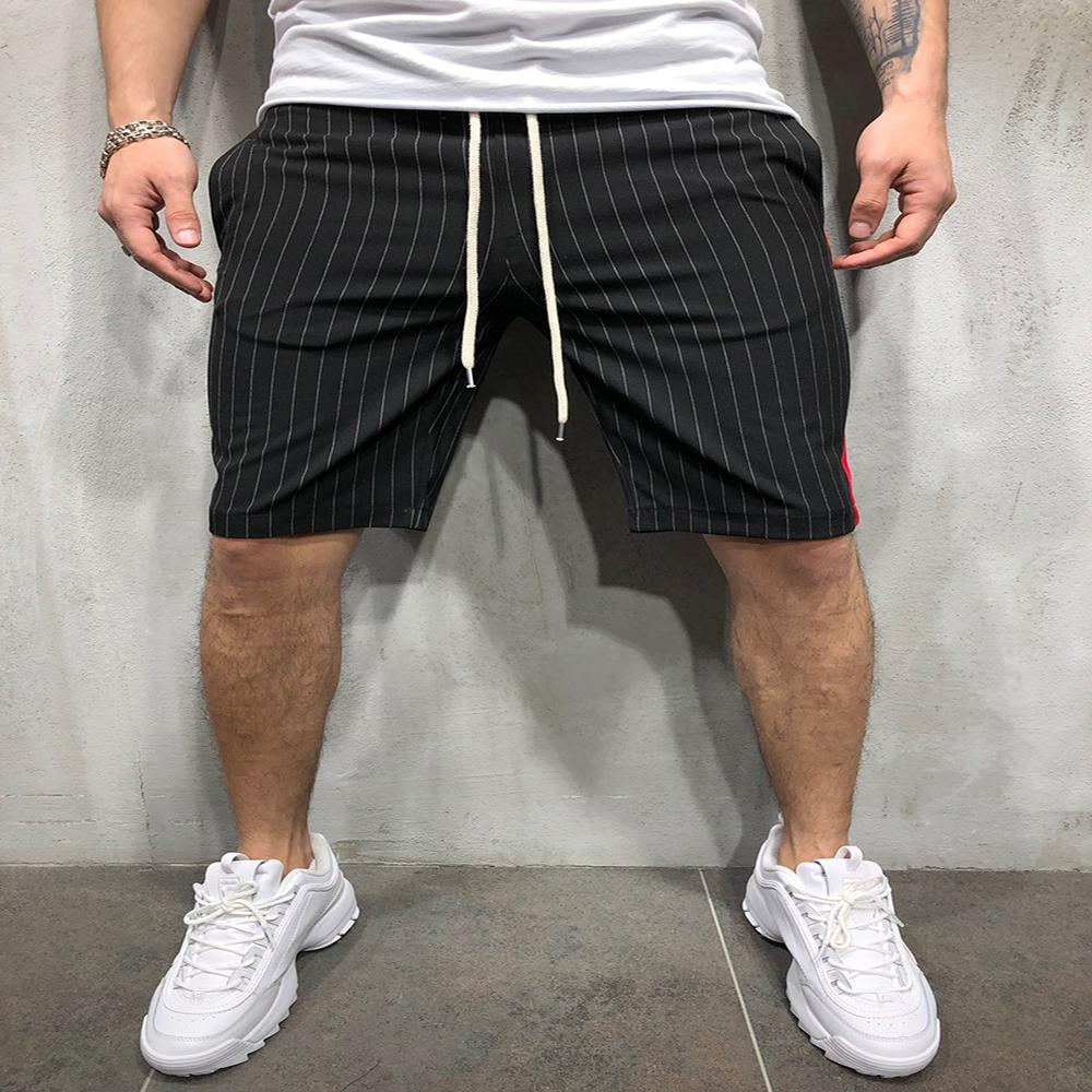 Men Fashion Shorts Sports Fitness Casual Pants Mid Striped Color Matching Men Shorts Knee Length Style Pants Hot Summer Man 2021