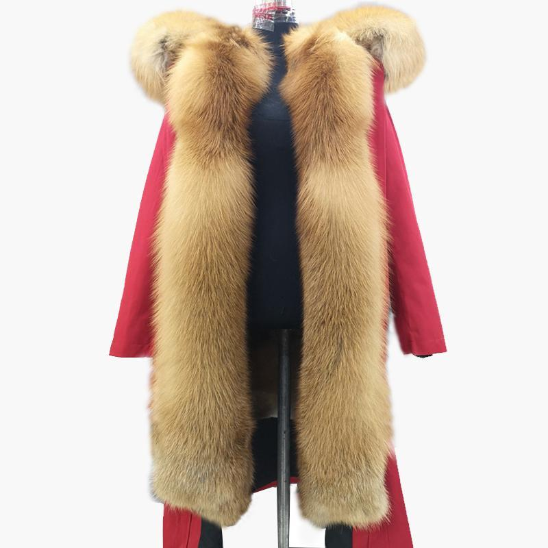 Faída de las mujeres Faux 2021 Estilo Superando Abrigo Femenino Parker King X-Long Long Mapache Colllar Natural Liner Real