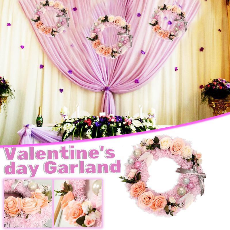 Valentinstag Rose Girlande Künstliche Rose Rebe Hängende Blumen für Wanddekoration Pompons Blume Kranz Home Decoration
