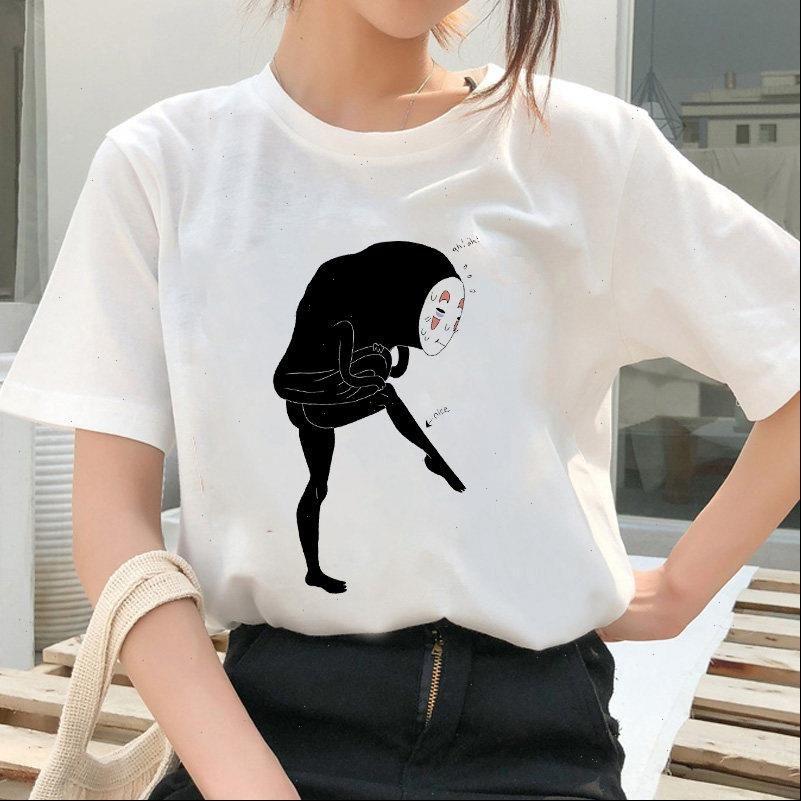 Totoro Spirit Away T-Shirt Frauen Japanische Anime Miyazaki Hayao Harajuku Ullzang 90er Jahre T-shirt Grafik Top Tee Weiblich