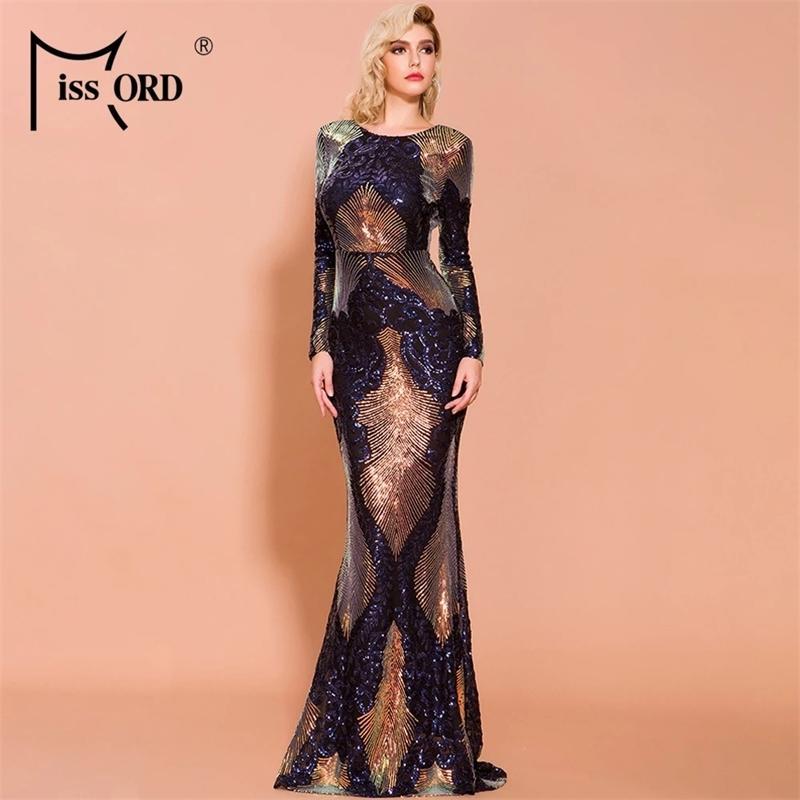 Missord 2021 Kadınlar Seksi O Boyun Uzun Kollu Backless Pullu Elbiseler Kadın Zarif Çok Sonbahar Kış Maxi Elbise Robes FT19747 210303
