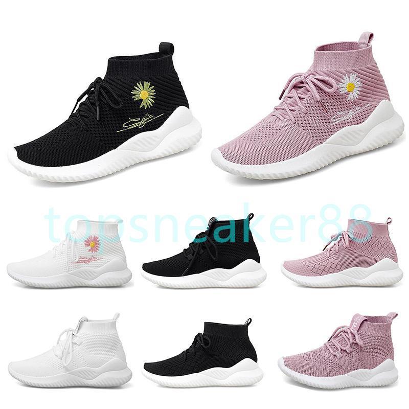 Kaliteli Moda kadın Çorap Ayakkabı Yüksek Üst Renk Üç Siyah Beyaz Pembe Dokuma Nefes Kadın Sneakers Koşu Sneakers