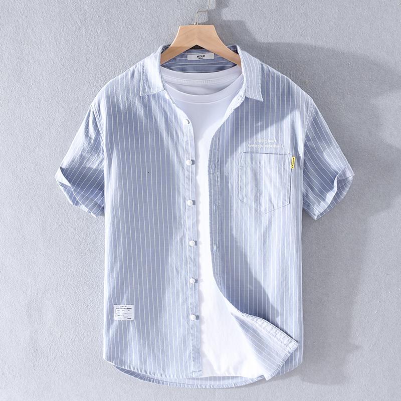 2021 nouveau 100% coton rayé blanc manches courtes marquées hommes mode casual chemise Homme Mens confortable Chemises Stripe Homme VXGV