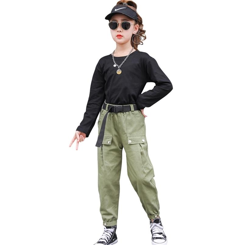 Girls Cargo Clothes Tshirt + Pants Outfits Casual Style Clothing Sets Teenage Children's Suits 6 8 10 12 14 210528