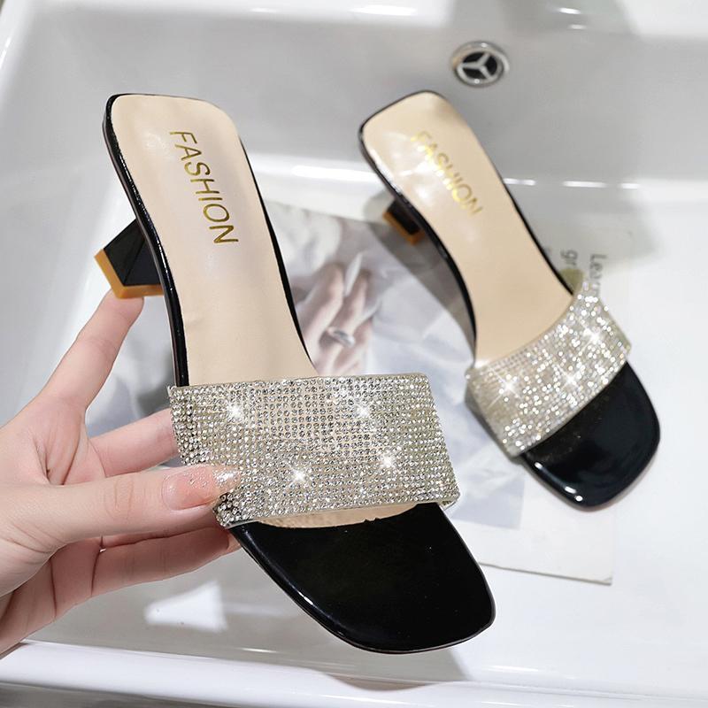 Sommer 2021 Neue Frau Sommer High Heel Hausschuhe Open TOE Outdoor Sandalen Strasssteine Mode Sexy Solide Farbe Plus Größe 41 42