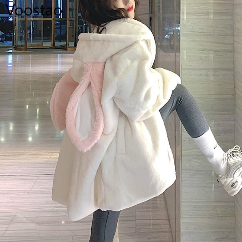 Damen Hoodies Sweatshirts Herbst Winter Gothic Harajuku Paar Ohren Schwarz Mit Kapuze Outwear Frauen Süße Koreanische Lose Warm Plüsch Mäntel