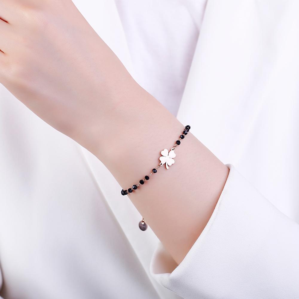 Rose Gold Clover Clovered Strands из нержавеющей стали очарование браслеты женские черные хрустальные бусины цепные браслеты мода ювелирные изделия