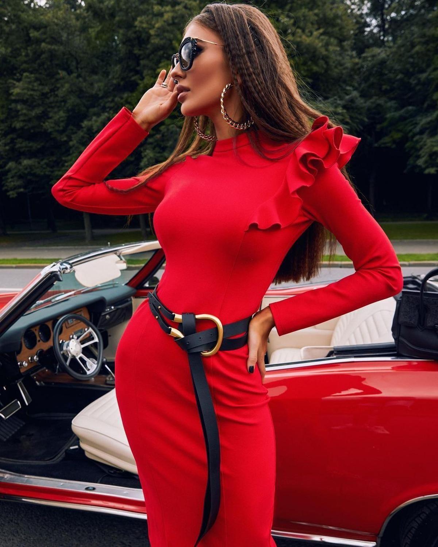 Seksi Uzun Kollu Kadın MIDI Kırmızı Dapper Bandaj 20 Ladies Club Bodycon Elbise Parti FWSY
