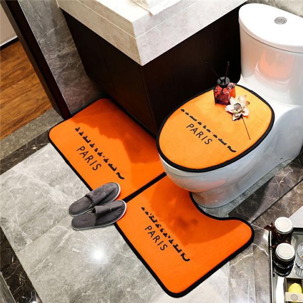 Venda quente Bath tapete 3 pcs tapete de banheiro conjunto anti escorregar tapete tapete tapete padrão clássico antidelizante esteiras de banho luxuosas