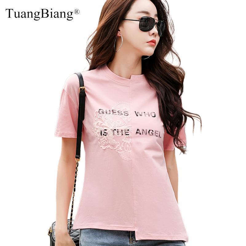 Femenino asimétrico patchwork O-cuello dobladillo algodón camisetas verano 2021 mujeres manga corta camiseta rosa oficina dama 3d impresión tops