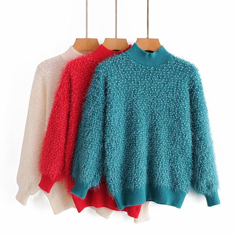 2021 New Women Pullover Shiney Silk Sweaters Autumn Winter Wool Warm Sweater Casual Long Sleeve Pull Female Outwear Coat S5B1