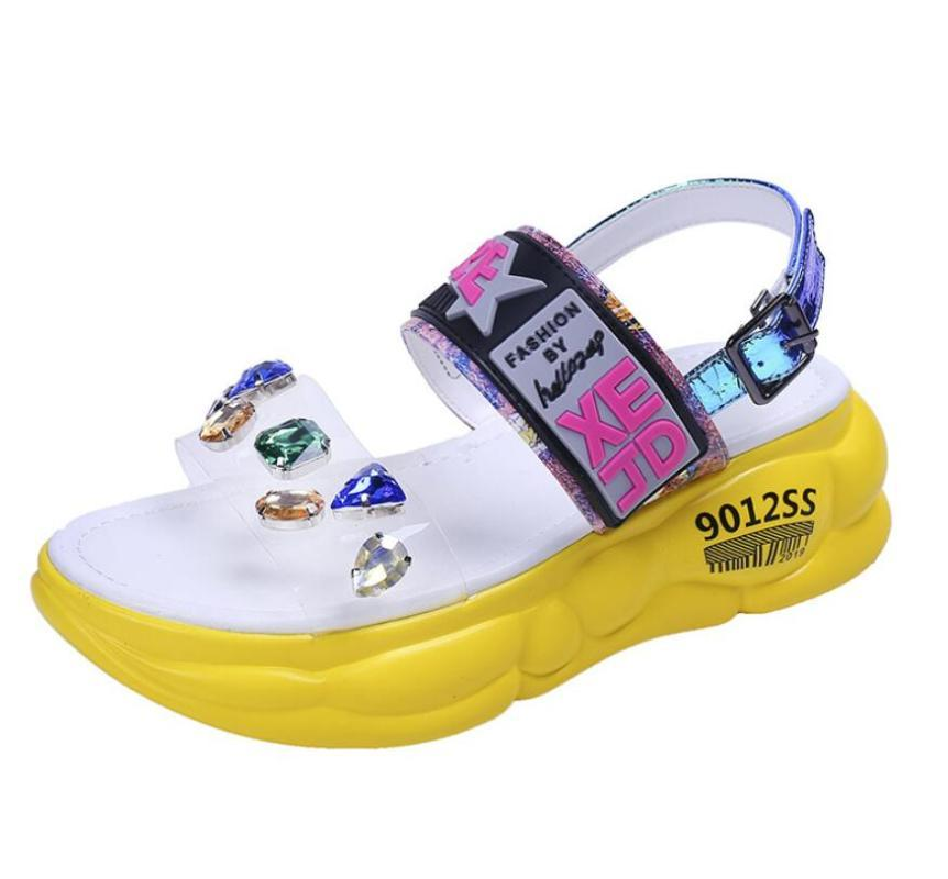 Sexy Slingback Wedge Beach Shoes Diamond Peep Toe Hollow Out Sandals Woman Shoes Platform Outdoor High Heels Summer Woman