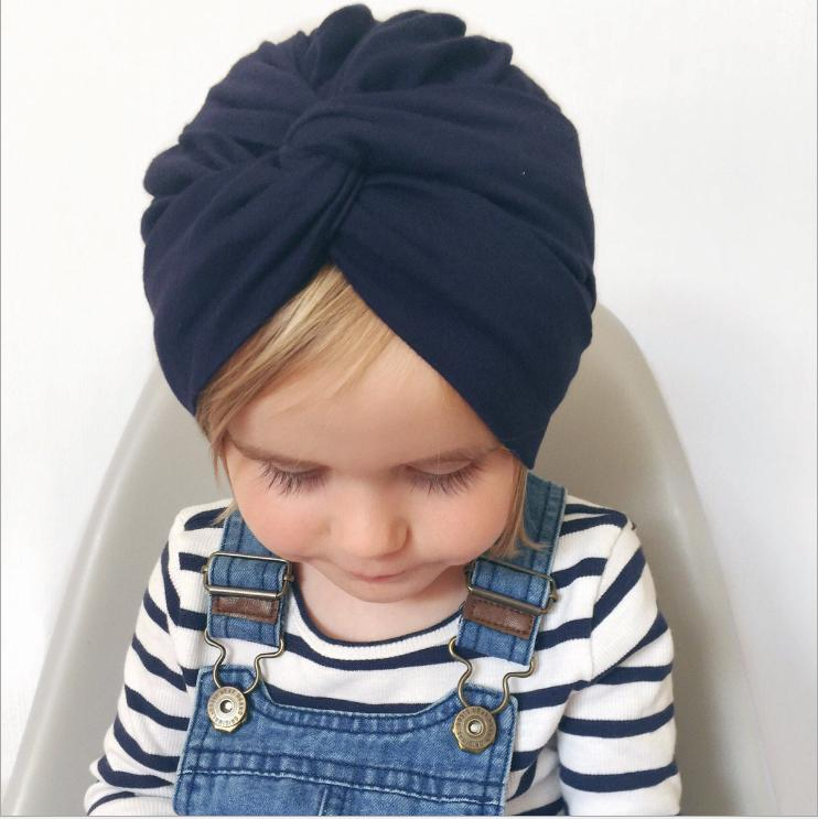 Baby Hat Bunny Ear Caps Turban cross Knot Head Wraps India Bow Hats 9 Colors Kids Children Winter Spring Beanie KBH64