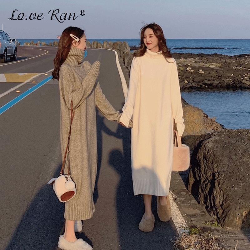 Kore Balıkçı Yaka Uzun Kazak Elbise Kadınlar Gevşek Katı Uzun Kollu Sıcak Örme Elbise Kadın Sonbahar Kış Bayanlar Vestidos 210303