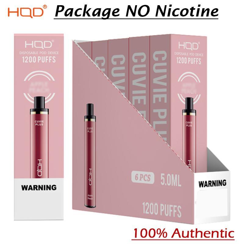 정통 HQD Cuvie 플러스 일회용 1200 퍼프 포드 장치 전자 담배 vape 펜 키트 950mAh 5ml 사전 채워짐