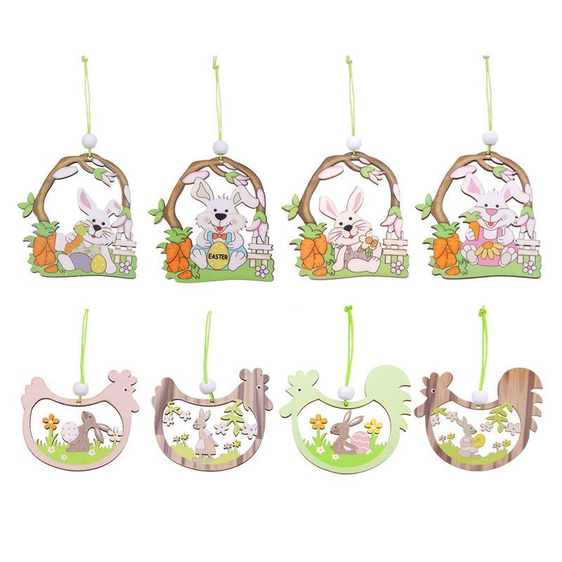 Pascua de madera que cuelga adornos de conejito decoraciones de huevo de pollo con cordón para decoraciones de fiesta de Pascua Regalo de los niños JK2102XB