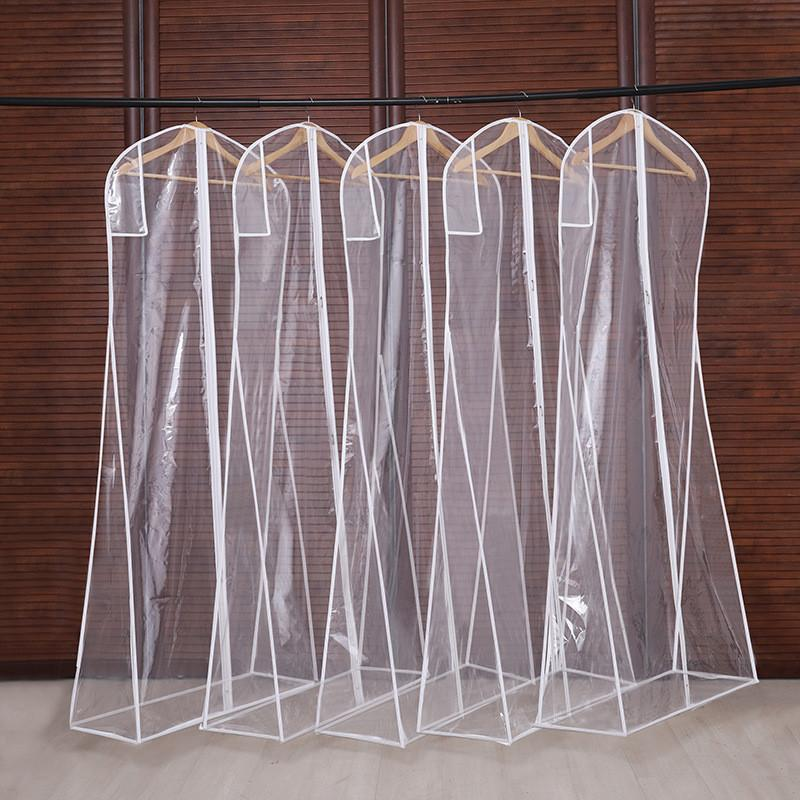 3 tamanhos de vestuário cobre limpar saco de terno doméstico pendurado-tipo casaco terno traça à prova de vestuário sacos respirável zíper capa de poeira CPA2940