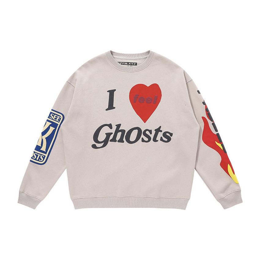Çocuklar Ghosts Boya Yüksek Kalite ile Hoodie Erkek Streetwear Kanye West Tişörtü Q7K0 Geldi