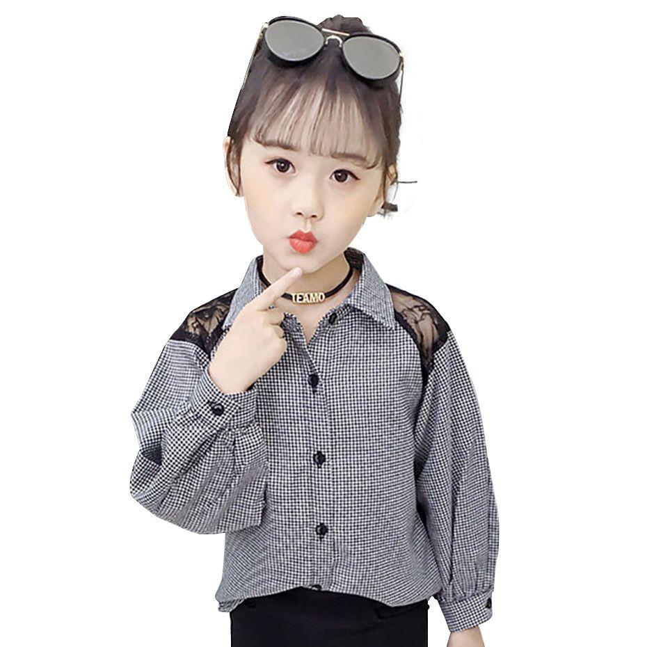 Girls Blouses Plaid Blouse For Girls Long Sleeve Kids Shirt 6 8 12 Years Spring Girls Clothing Teen Children's Shirt Autumn 210302