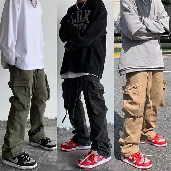 Pantaloni laterali Streetwear Streetwear Blare Pants Mens Coullstring Dritto Pantaloni da carico BAGGY BAGGY HIP HOP Pantaloni casual allentati