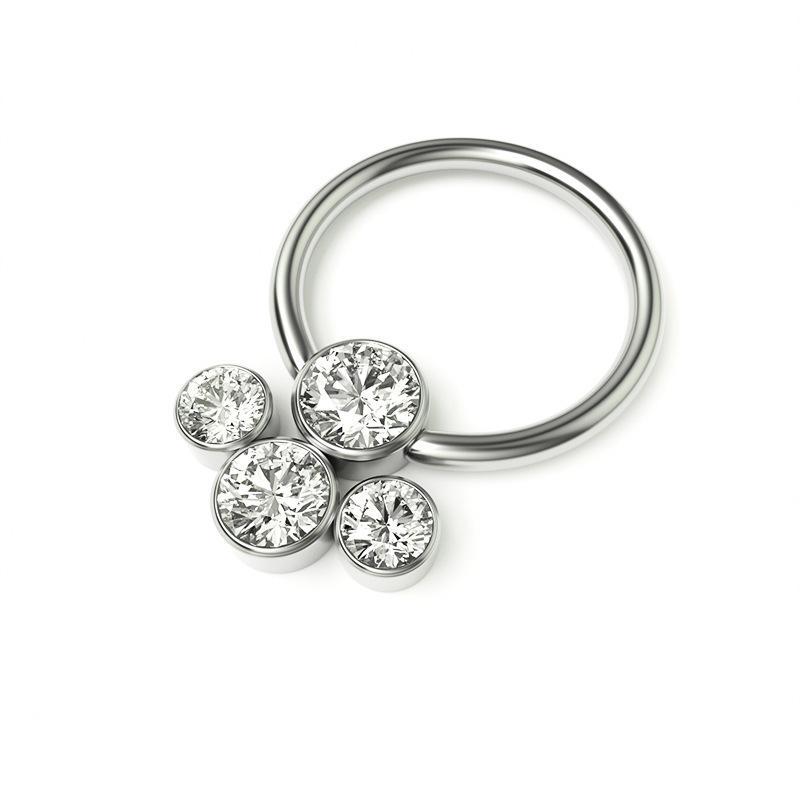 2021316L zircono gioielli intarsiato anello naso, orecchini e orecchini