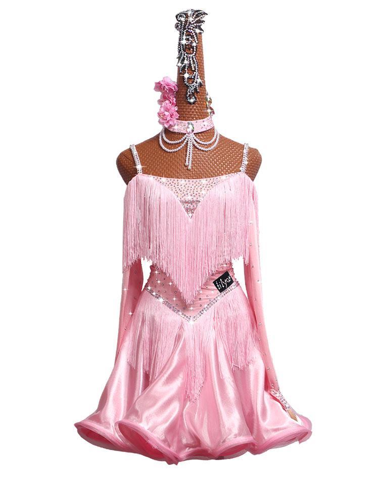 Sparkly Strasssteine Lateinisches Wettkampf Kleid für Frauen Rosa Fransen Schulterfrei Ballsaal Tanzkleider Bühnentanz Show Kostüm