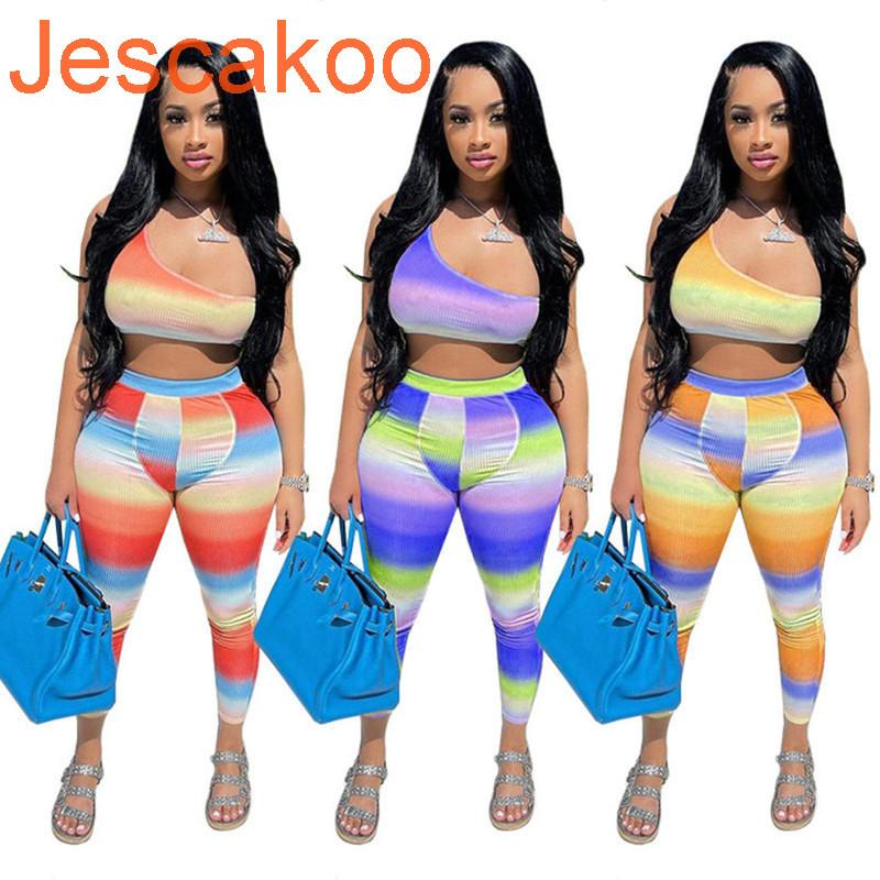 Summer Women Jogger Suit Plus Size Outfits Striped Tracksuits Sexy One Off Shoulder Crop Top Leggings Two Piece Set Casual Sportswear