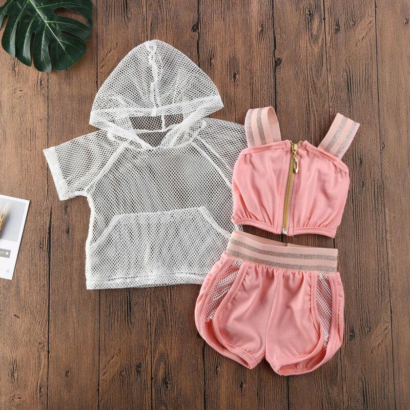 6m-3y Sommer Baby Mädchen Kleidung Sets Mädchen Mesh Hoodies Kleinkindband Camis Shorts Trainingsanzug Kinder Outfits 3 stücke Kleidung