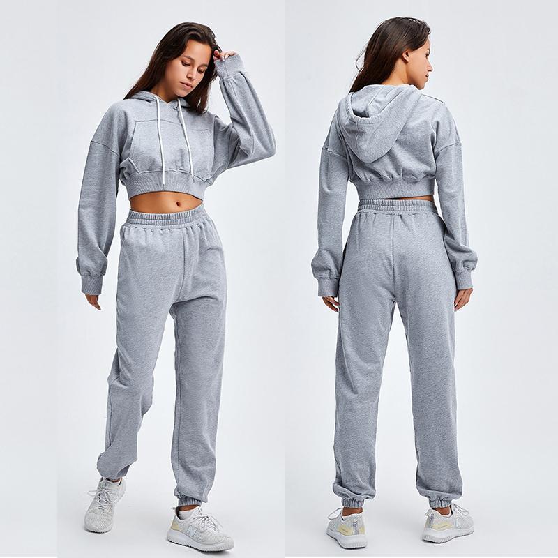 Frauen zwei Stück Hosen Trainingsanzug Sportbekleidung Solide Farbe Lässig Lose Kurze Hoodies Sweatshirt und Sportset Frauen Outfit