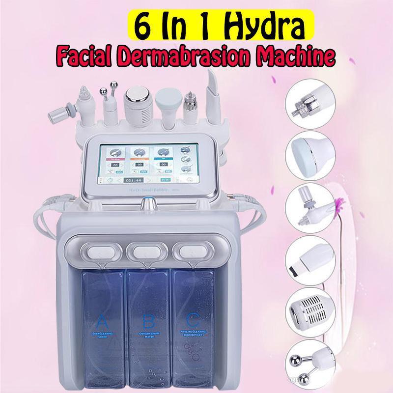 6in1 H2-O2 Hydra Dermabrasion Aqua Peel RF Bio-Sollevamento Spa Vial Hydro Acqua Acqua Microdermoabrasione Macchina Facciale Facciale Mercello freddo Spray di ossigeno
