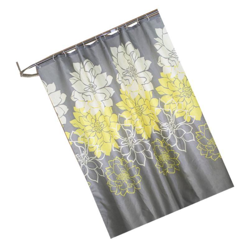 Rideau de douche de fleur pivoine Rideau de bain de ménage épaississement douche baignoire étanche (jaune)