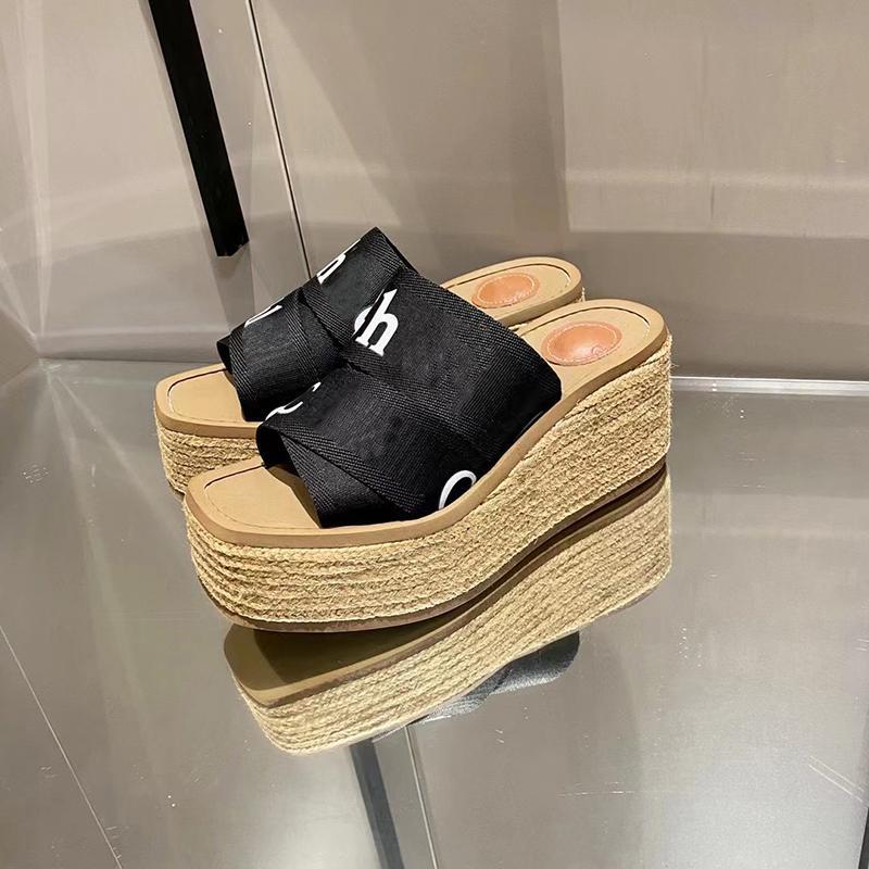 2021 Tasarımcı Slaytlar Kadın Platformu Terlik Woody Kama Katırında Kanvas Düz Dantel-up Espadrille Yaz Plaj Rahat Ayakkabılar Kutusu ile Yüksek Topuklu 292