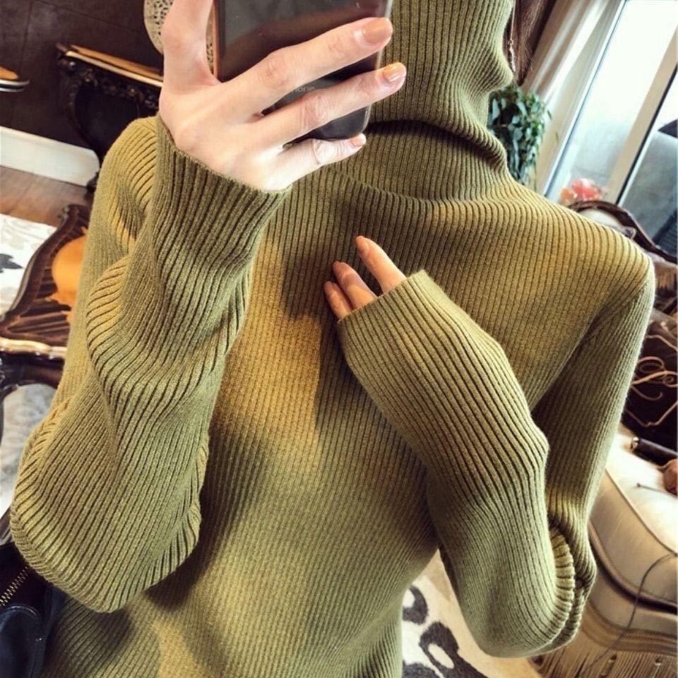 Осень зима 2021 Stacked Turtleeneck свитер для женщин с тонкой верхней и длинной рукавой тонкой вязать нижнюю рубашку