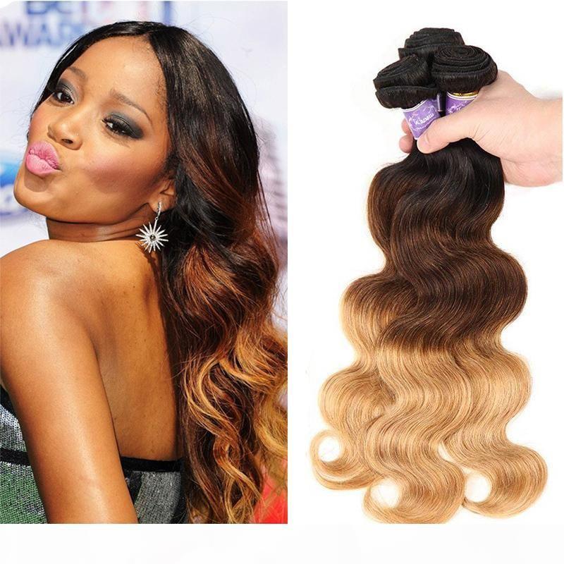 3 пакета сделки OMMRE бразильские волосы девственницы Weaves 1b 4 27 три тона медовые блондинка омбре цветные волны тела человеческие волосы наращивание волос