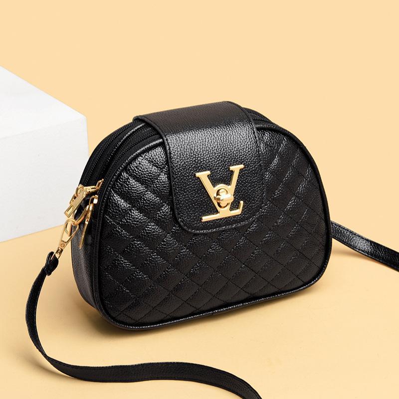 PB0021 패션 편지 V 잠금 검은 PU 가죽 단일 어깨 가방 메신저 가방 핸드백 여성을위한 좋은 품질 재고 있음