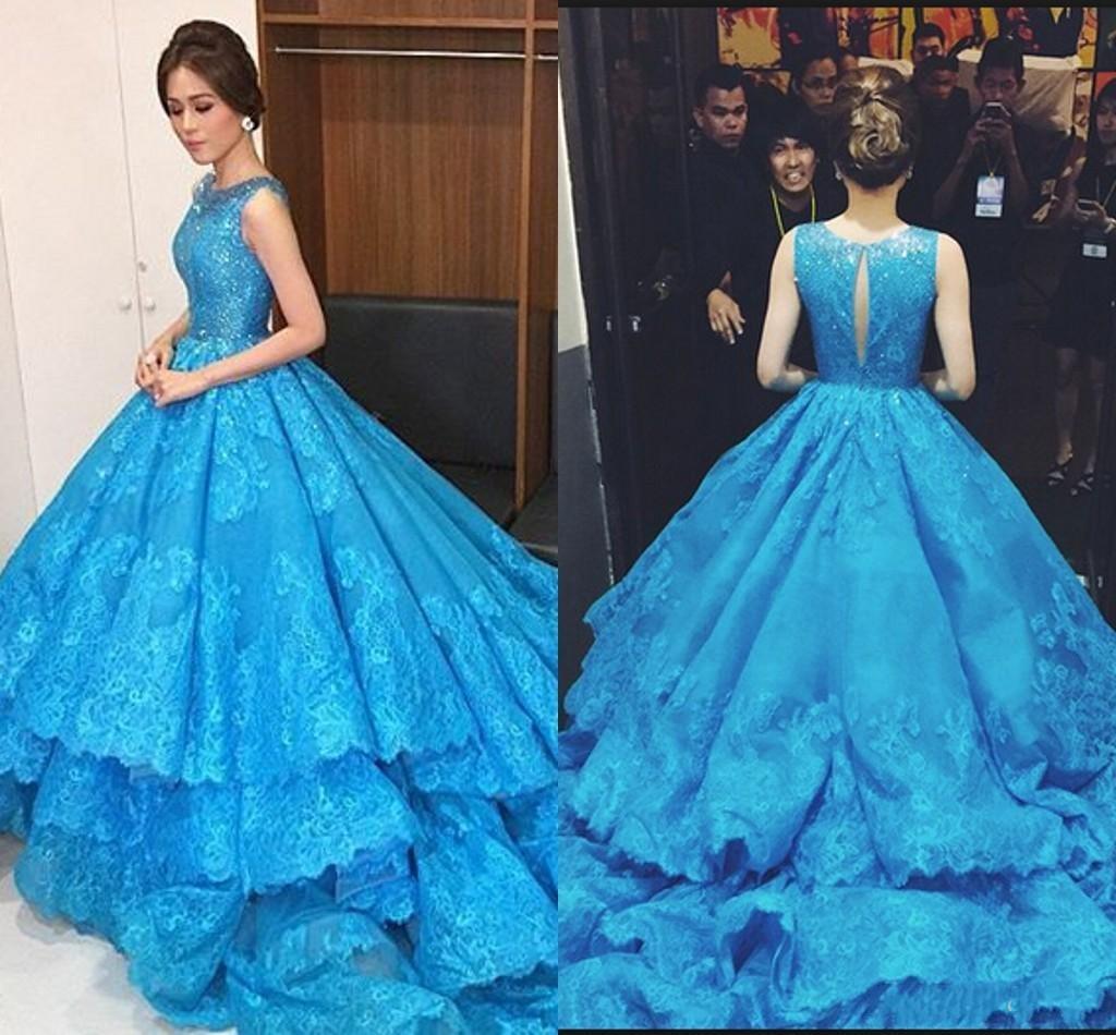 Ellie Saab Blue Evening Dresses Scoop Neck Sequins Lace Appliques Tiered Formal Evening Gowns Hollow Back Party Dresses Wear Vestidos
