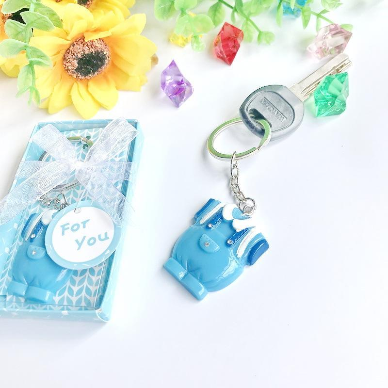 25шт детские душевые вручает синяя одежда дизайн брелок детское крещение подарок для гостей день рождения вечеринка сувенир