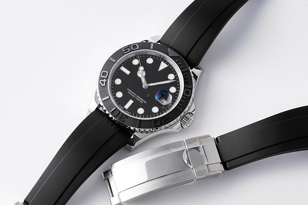 N 공장 남자 시계 ETA 2836 사파이어 유리 자동 기계 시계 고무 스트랩 세라믹 베젤 다이얼 빛나는 방수 패션 손목 시계 OROGOLOGIO 디 LUSSO