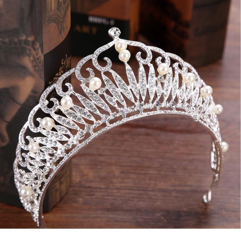 Модная свадьба корона серебряный цвет горный хрусталь жемчужный головной уборной крона новорожденная корона головной убор королева выпускные свадьбы волосы циллиф