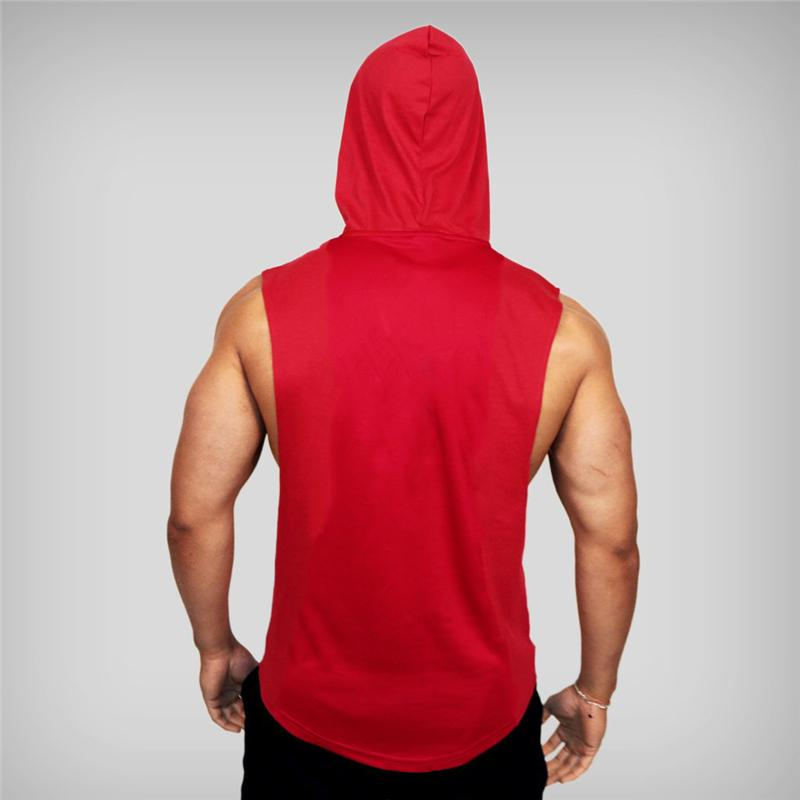 브랜드 체육관 의류 남성 보디 빌딩 후드 탱크 탑 코튼 민소매 조끼 운동복 운동 운동 운동복 탑스 남성