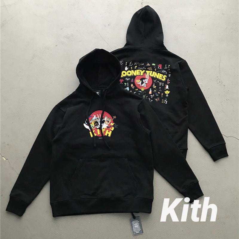 2021 Новый FW Kith Hoodie Мужчины Женщины Кролик Толдушки Высокое Качество Луни Аниме Серия Пулловеры Уболовы 4 ГСП