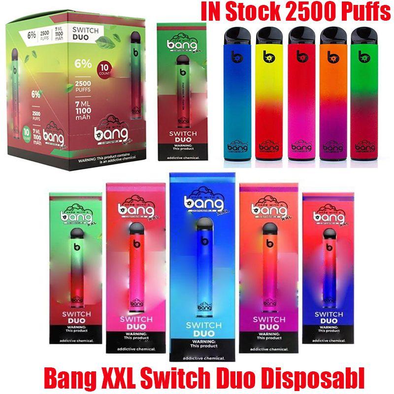 Bang XXL 스위치 듀오 일회용 장치 키트 키트 전자 담배 2 in 1 2500 퍼프 1100mAh 배터리 7ml 미리 페로리지 포드 Vape Stick 펜 VS 프로 최대 공기 바 럭스