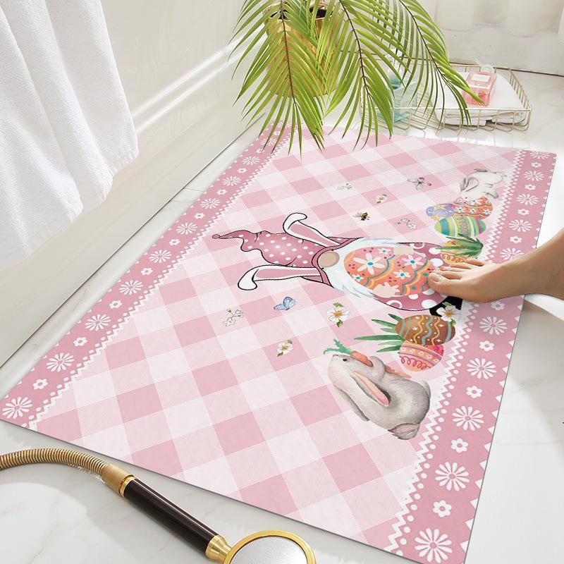 Easter Gnome Mat 16x24in 18x30in Happy Easter Dwarf Rabbit Egg Doormats Non Slip Kitchen Carpet Home Door Rugs OWA3654