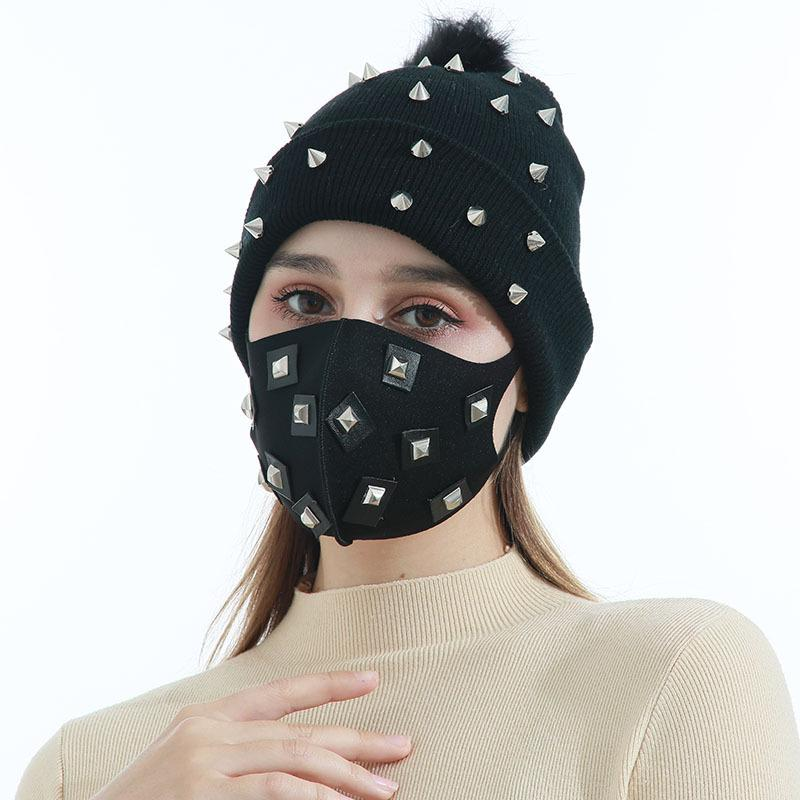 Hot Sale Black Square Patch Ice Silk Mask Autumn and Winter Windproof Warm Mask Hat Two-Piece Set