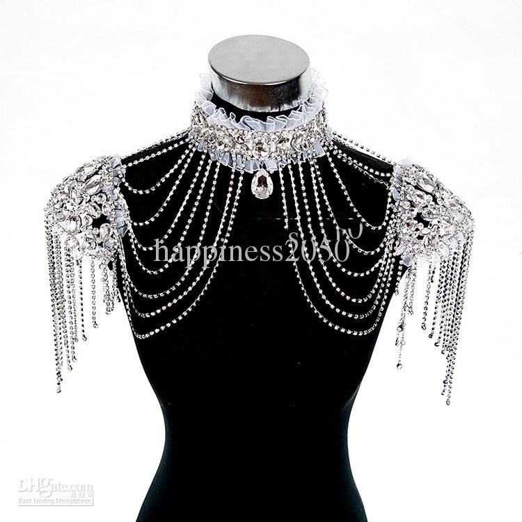 Heet verkoop hoge kwaliteit bruid schouder ketting bruids kralen wraps bruid bruiloft ketting bruids sieraden gratis oorbellen N302002