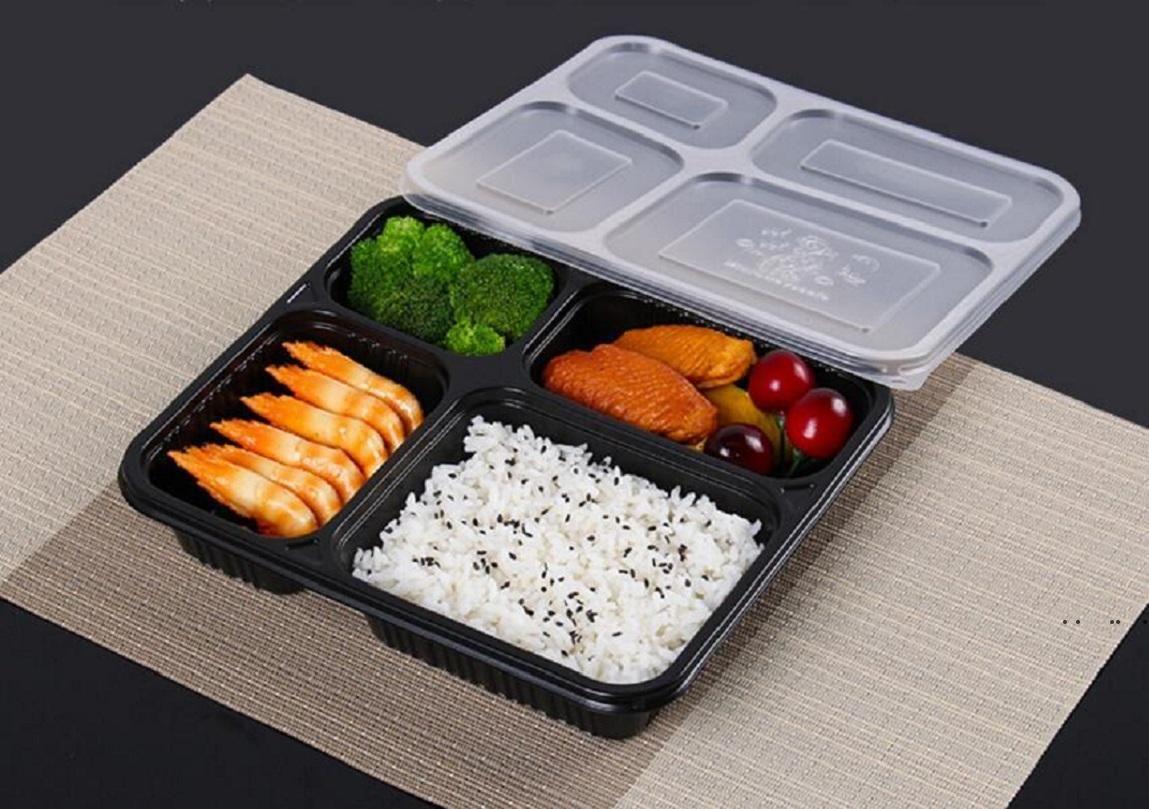 Бесплатная отгрузка 4 отсеки Выньте контейнеры класса PP пищевые упаковочные коробки высокого качества одноразовые Bento ящик для отеля SOW PRY EWF5450