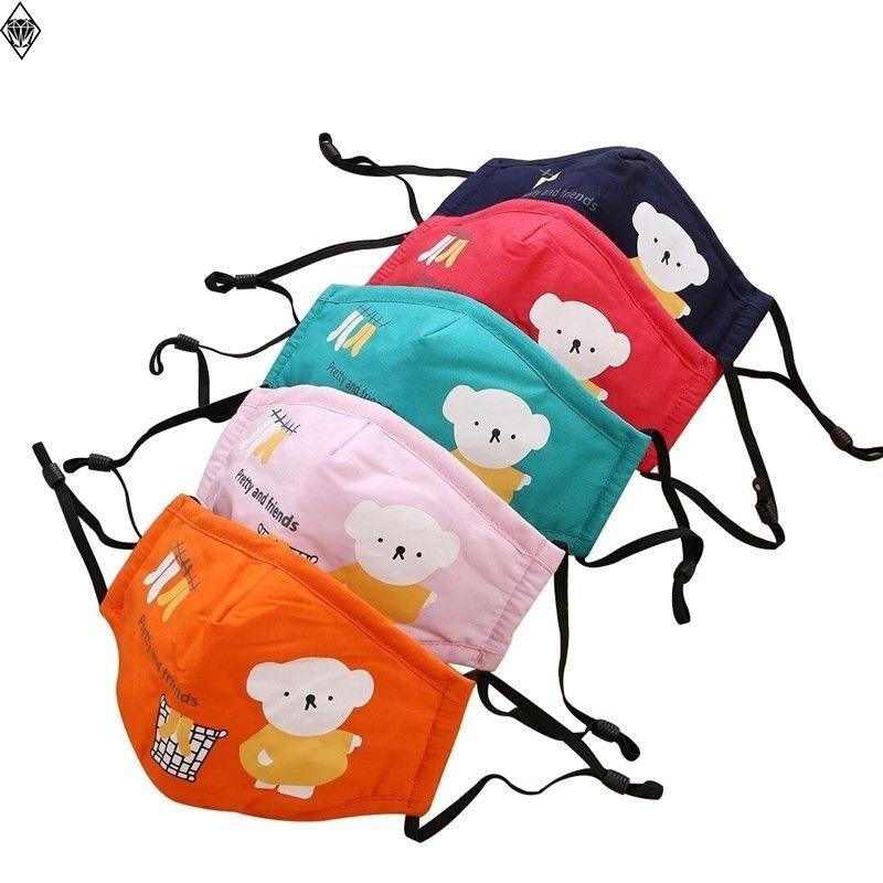 50 pcs crianças festa bonito dos desenhos animados pm2.5 lavável Anti-Haze máscara de rosto anti-poeira máscara colorida não tecido de tecido crianças máscaras 54 v2