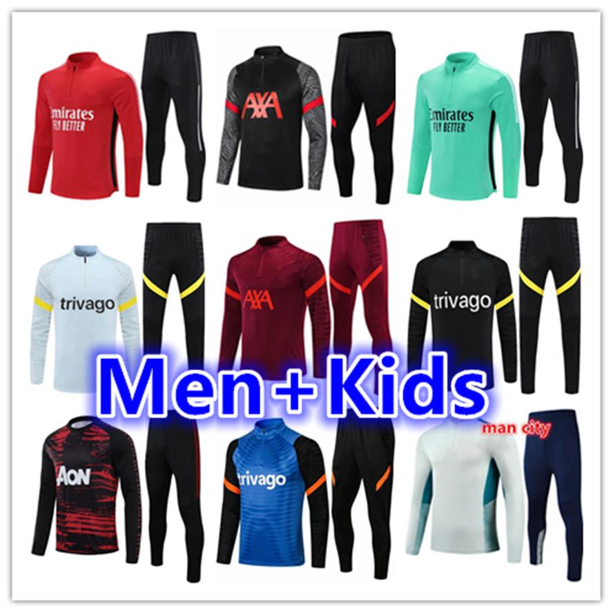 Kinder + Männer Erwachsene 21 22 Fußballtrainings Trainingsanzug Fussball Trainingsanzüge Anzug Sets 2021 2022 Surveetement Fußchandal Futbol Tuta Jacke Jogging Set